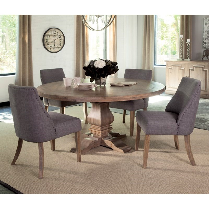 Donny Osmond Home Florence Round Table And Grey Upholstered Chair Set    Coaster Fine Furniture
