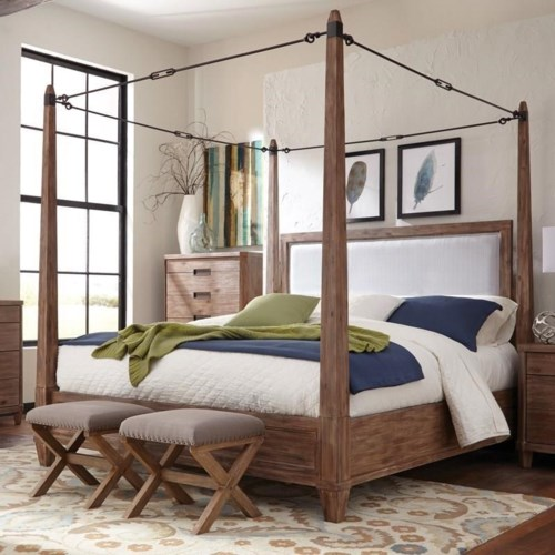 Bed Shown May Not Represent Size Indicated. Donny Osmond Home Madeleine Queen Canopy Bed   Coaster Fine Furniture