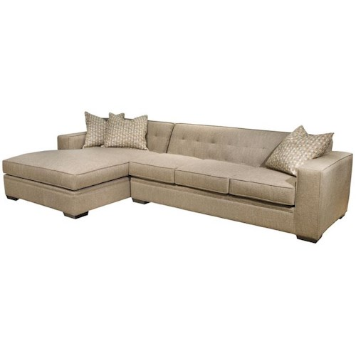 EJ Lauren Oscar Modern Sectional Sofa with Button Tufted Back and ...