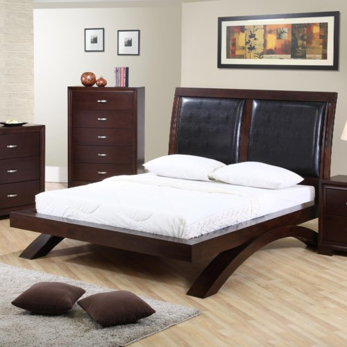 Elements International Raven Queen Faux Leather Headboard Platform Bed