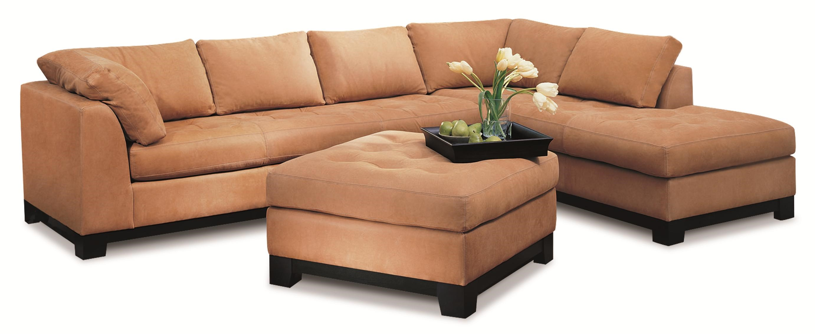 Elite Leather Century City Contemporary Leather 2 Piece Sectional Sofa With  Right Chaise