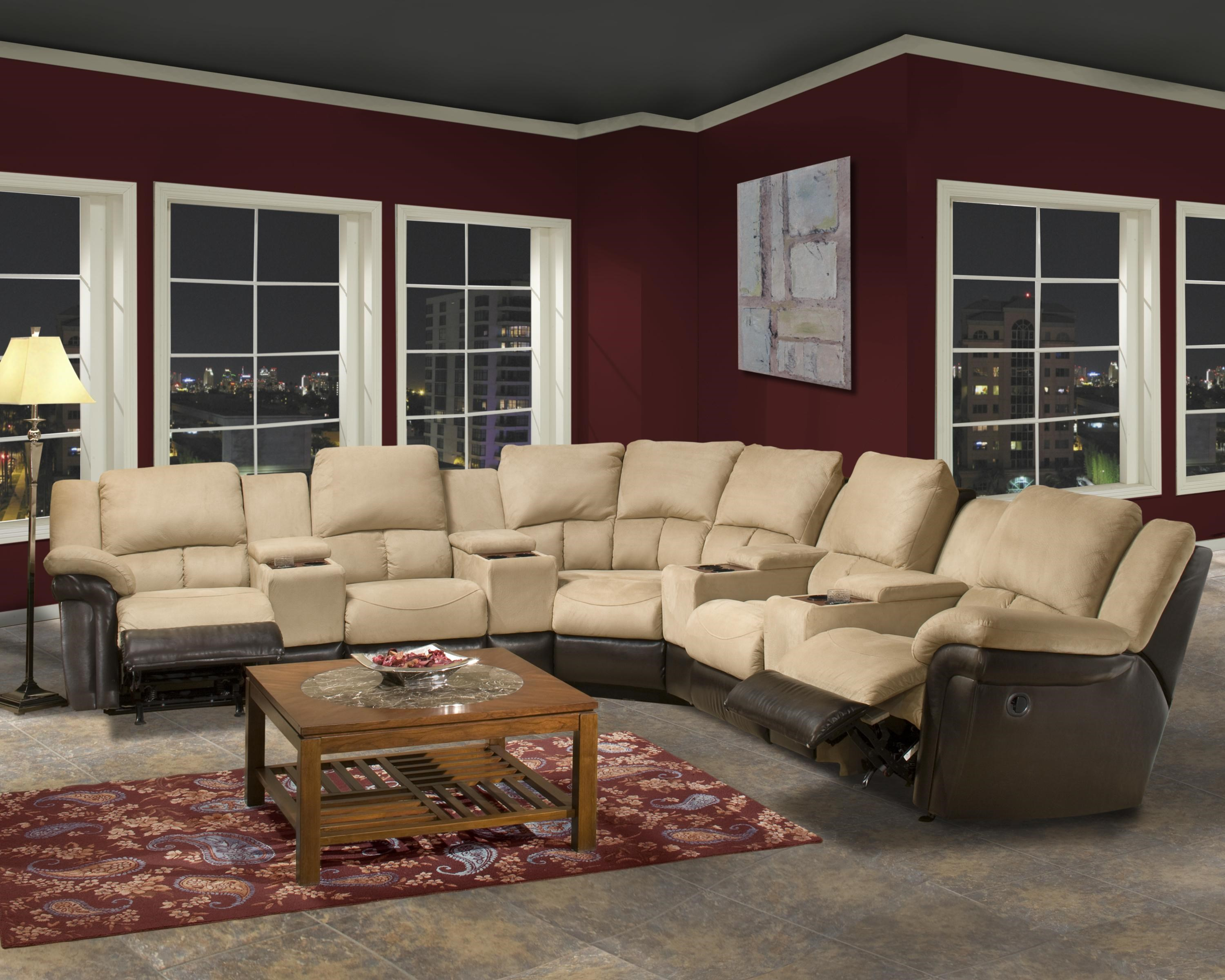 Emerald Home Theater Motion Upholstery Series 9 Piece Reclining Sectional  Sofa