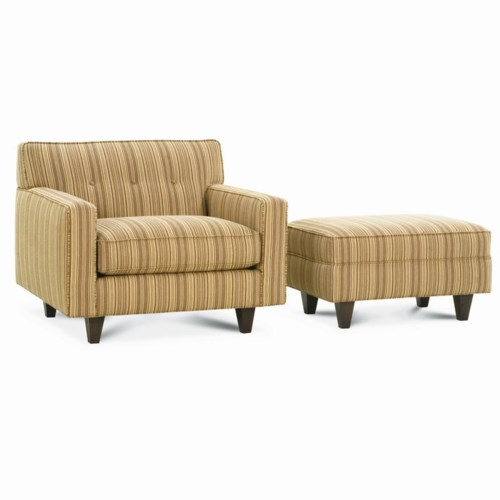 Rowe Dorset Upholstered Chair with Button Tufted Back & Exposed Wood Leg Ottoman