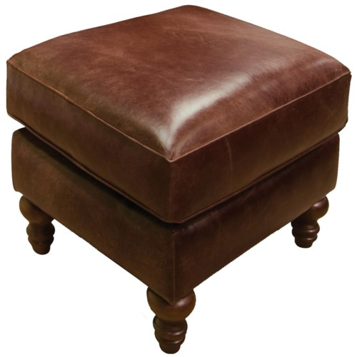 England Lane Traditional Leather Ottoman with Turned Legs