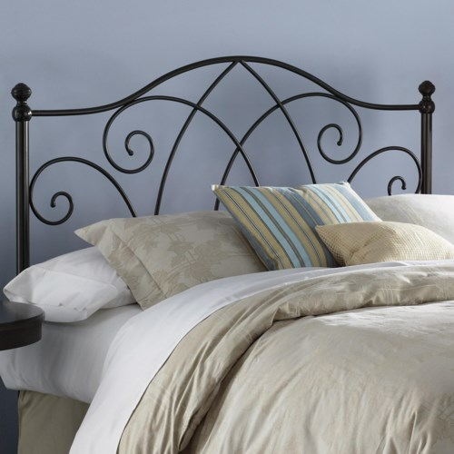 Fashion Bed Group Metal Beds Queen Deland Headboard w/ Finials
