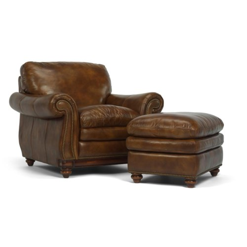 Flexsteel Latitudes - Belvedere Traditional Leather Chair and Ottoman with Nail Head Trim