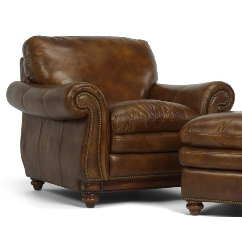 Flexsteel Latitudes - Belvedere Traditional Leather Chair with Nail Head Trim