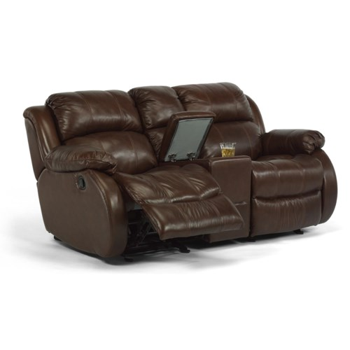 Flexsteel Latitudes - Brandon Rocking Reclining Love Seat with Console