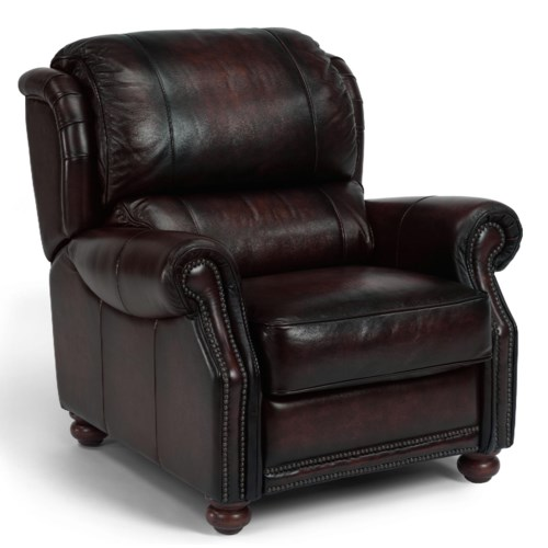Flexsteel Latitudes - Dickenson Recliner with Rolled Arms and Turned Wood Feet
