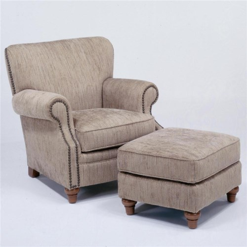 Flexsteel Killarney Chair & Ottoman w/ Nail Head Trim