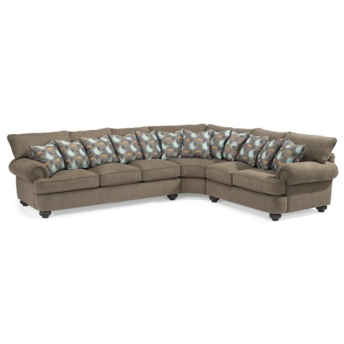 Flexsteel Patterson Three Piece Sectional Sofa With Rolled
