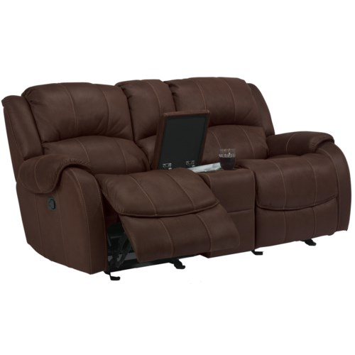 Flexsteel Latitudes -Pure Comfort Dual Gliding Reclining Love Seat with Console