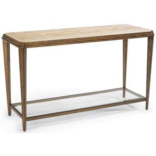 Flexsteel Seville Metal Sofa Table with Marble Top