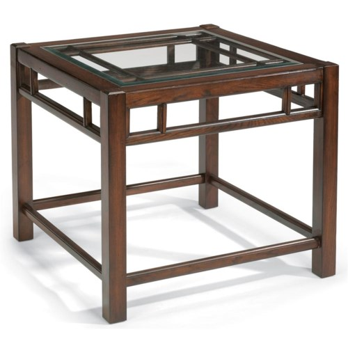 Flexsteel Sonoma Square End Table with Glass Top