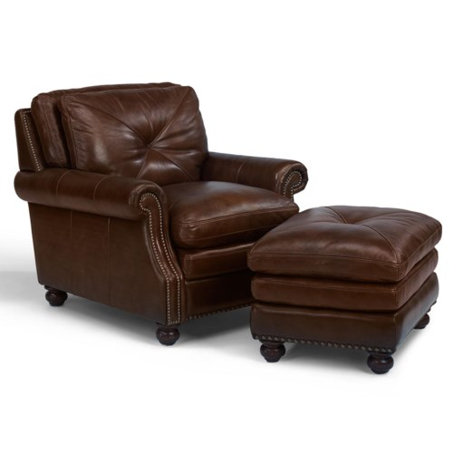 Flexsteel Latitudes-Suffolk Leather Chair and Ottoman Combination Set With Nailhead Trim