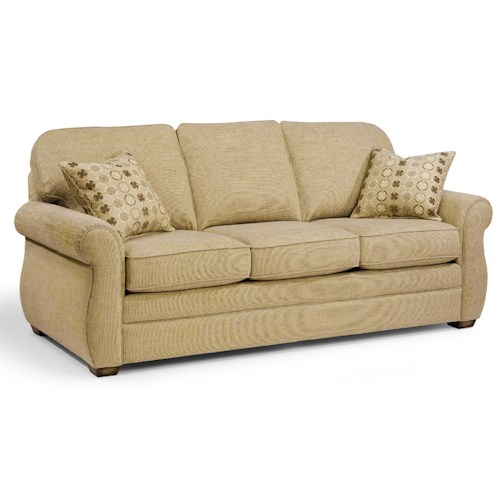 Flexsteel Whitney Sofa with Turned Arms and Wood Block Feet