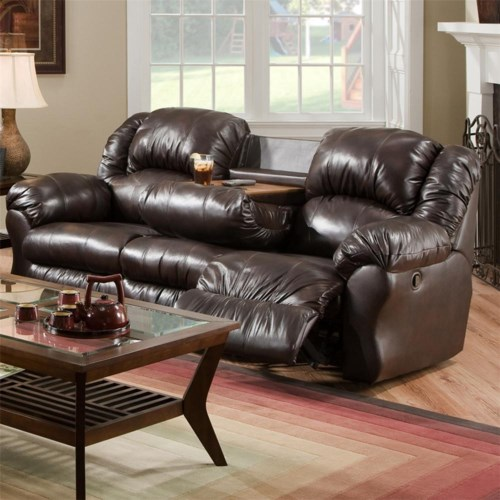 Franklin 691 92.5 Inch Reclining Sofa with Built-In Fold-Down Tray Table