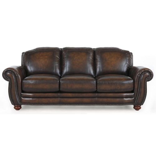 Futura Leather 7494 Traditional Three Seater Leather Sofa With Rolled Arms And Nailhead Trim Sofadealers Com