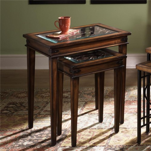 Hammary Hidden Treasures Nesting Tables with Glass Tops