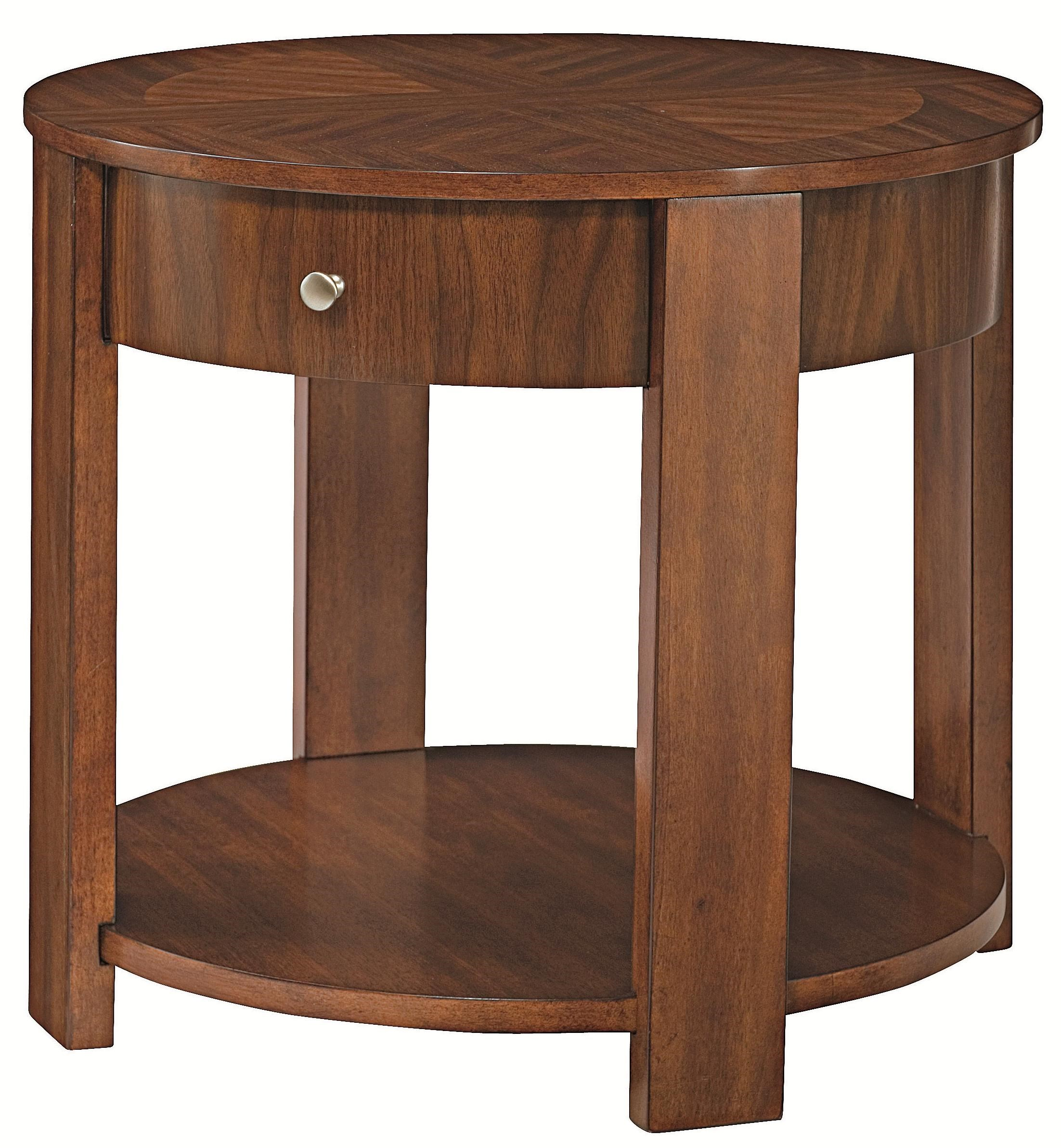 Round End Table With Storage Maxim Round Wood End Table