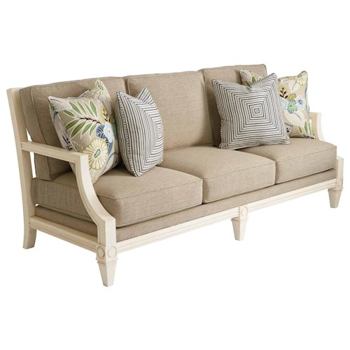 HGTV Home Furniture Collection Upholstery  Water's Edge Fret Back Sofa with Intricate Wooden Cut-Outs in Back