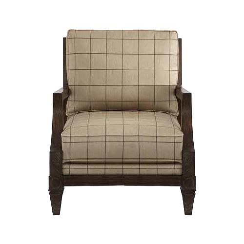 HGTV Home Furniture Collection Upholstery  Woodlands Fret Back Chair with Cabin Home Furniture Style