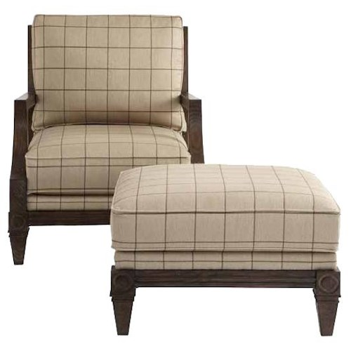 HGTV Home Furniture Collection Upholstery  Woodlands Chair and Ottoman Set with Cabin Home Furniture Style