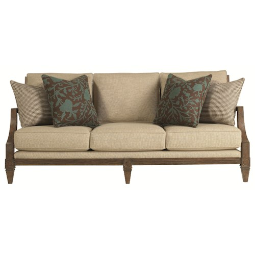 HGTV Home Furniture Collection Upholstery  Woodlands Relaxed Couch in Soft and Elegant Exposed Wood Cottage Style