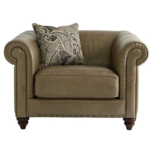 HGTV Home Furniture Collection Upholstery  Rusche Leather Chair with a Bold Traditional Style for Living Room Accent
