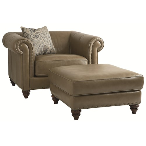 HGTV Home Furniture Collection Upholstery  Rusche Chair and Ottoman Set with a Bold Traditional Style for Living Room Accent
