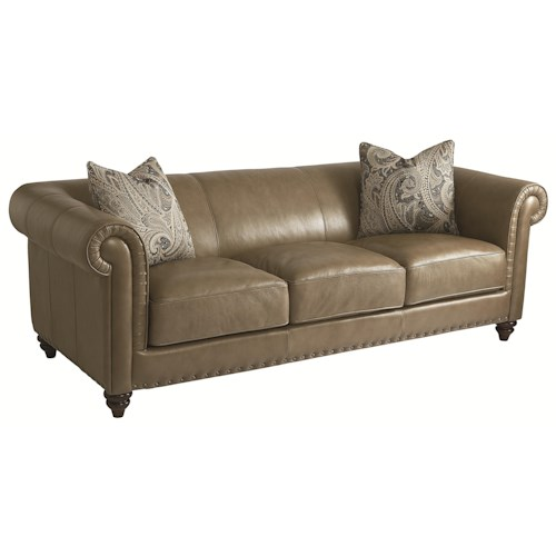 HGTV Home Furniture Collection Upholstery  Rusche Leather Sofa with Clean Traditional Chesterfield Sofa Style