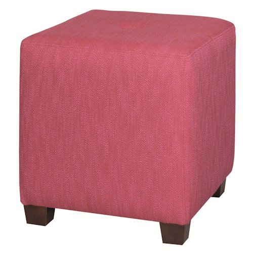 HGTV Home Furniture Collection Upholstery  Contemporary Styled Cube Ottoman with Center Seat Tuft