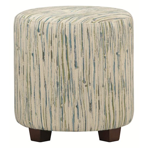 HGTV Home Furniture Collection Upholstery  Contemporary Styled Drum Ottoman with Seat Tuft