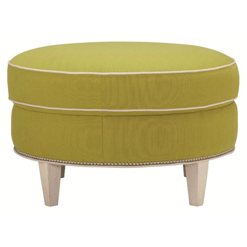 HGTV Home Furniture Collection Upholstery  Contemporary Styled Round Ottoman with Tapered Legs
