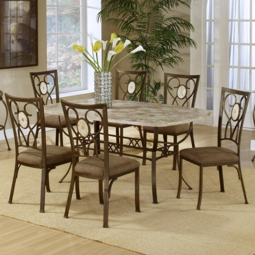 Hillsdale Brookside Seven Piece Rectangle Table and Oval Back Chair Dining Set