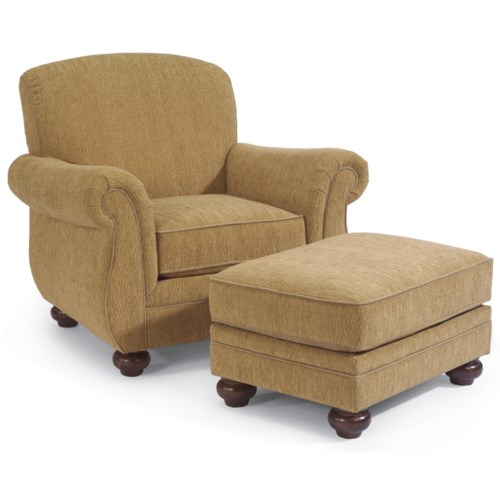 Flexsteel Winston Upholstered Arm Chair with Ottoman