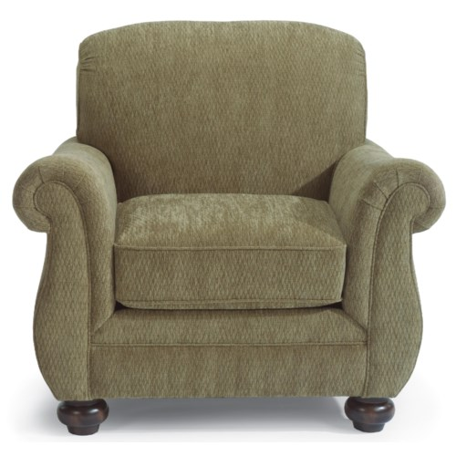 Flexsteel Winston Upholstered Arm Chair with Bun Feet