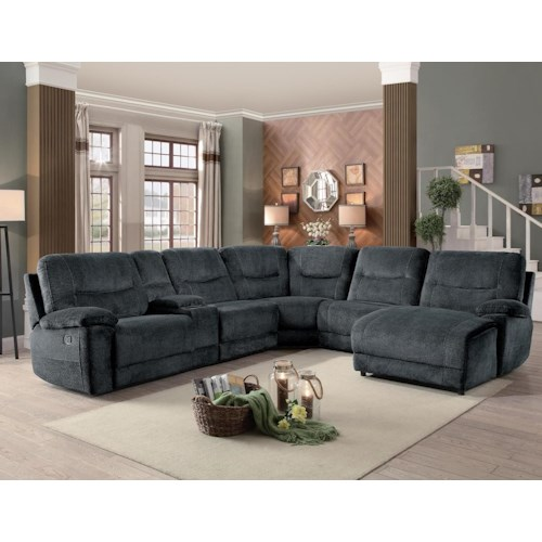 Homelegance Columbus Transitional Six Piece Sectional with Reclining Chaise