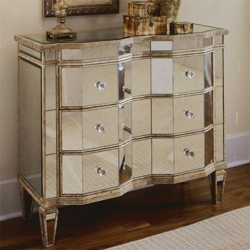 Hooker Furniture Chests and Consoles Mirrored Chest with 3 Drawers