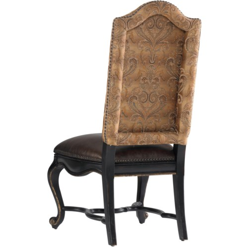 Hooker Furniture Grandover Upholstered Dining Side Chair with Leather Seat & Fabric Back