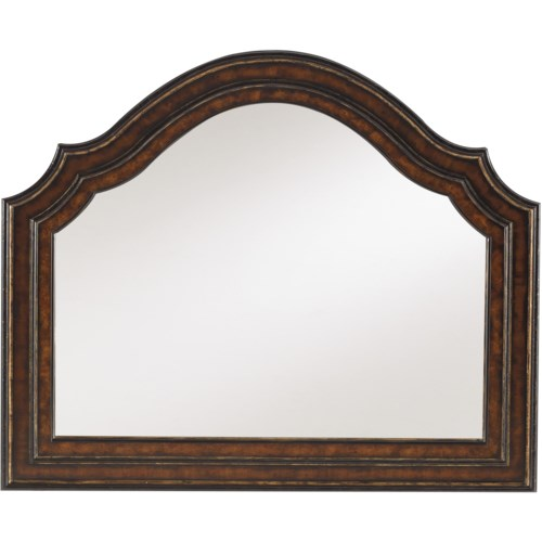 Hooker Furniture Grandover Shaped Landscape Mirror with Hand-Rubbed Gold Accents