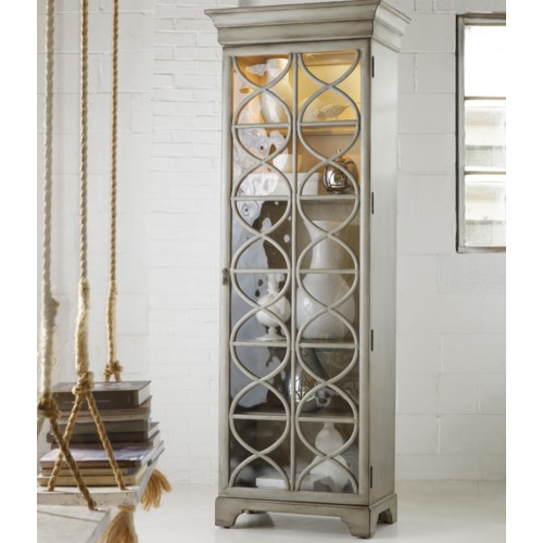 Hooker Furniture Mélange Celeste Display Cabinet with Concentric Circle Lattice Inserts