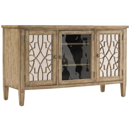Hooker Furniture Sanctuary 60-Inch Entertainment Console with Mirror & Fretwork Doors