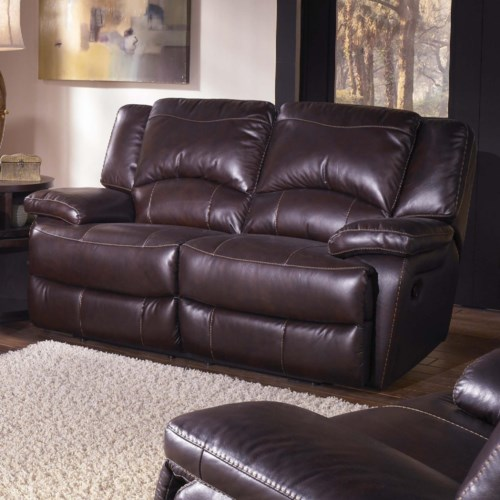 HTL T118 Casual Double-Reclining Leather Loveseat with Bustle Back Cushions