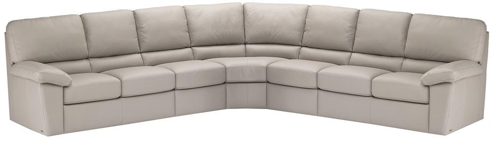 Italsofa I210 Contemporary Leather Sofa Sectional With Plush Pillow Arms