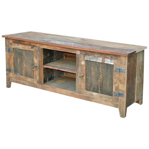Jaipur Furniture Sawan Plasma Weathered Solid Wood 2 Shelf Door Buffet