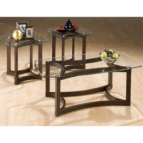 Jofran Bellingham Brown 3-Pack Casual Glass Top Occasional Table Set