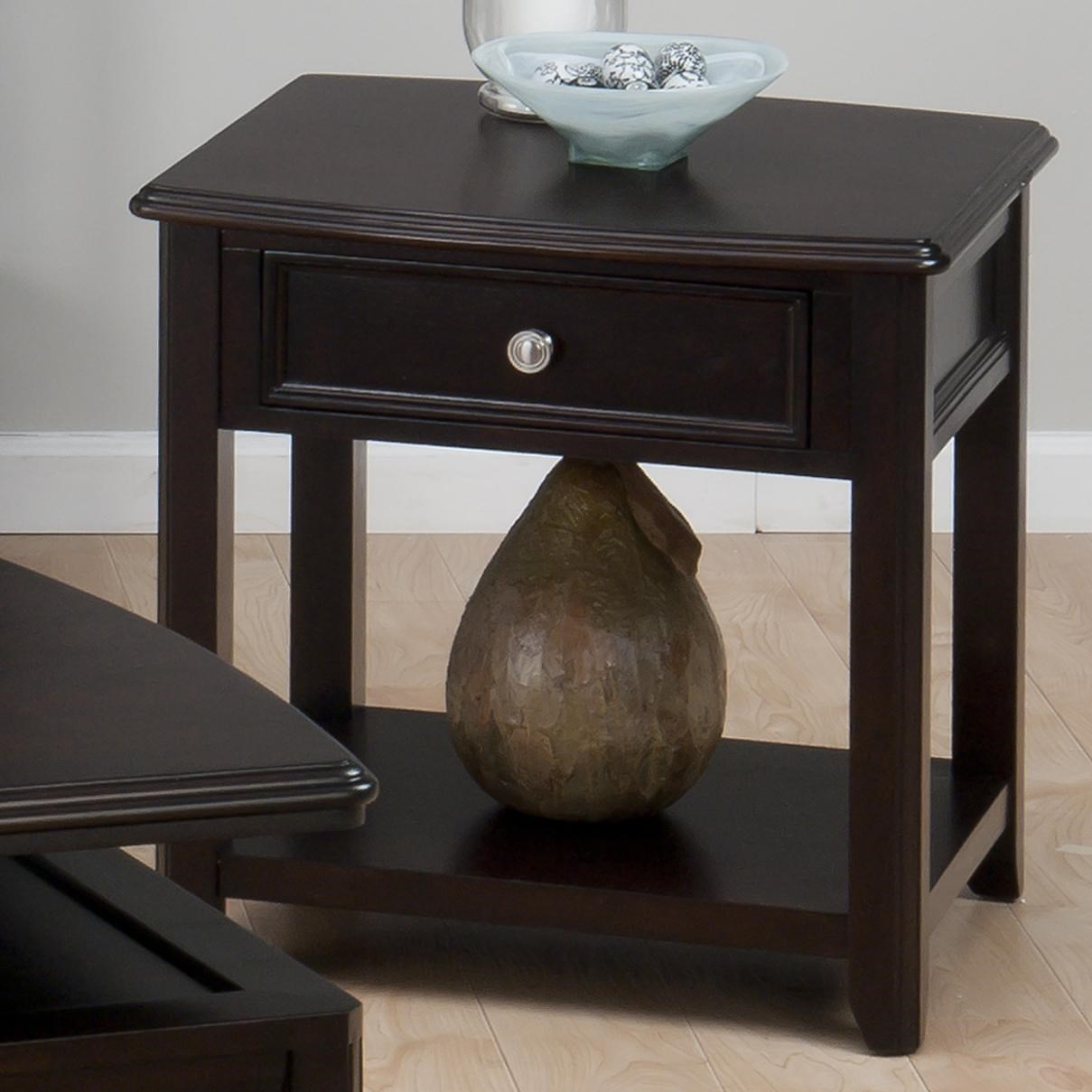 Jofran Corranado Espresso Casual Espresso End Table With Drawer U0026 Shelf