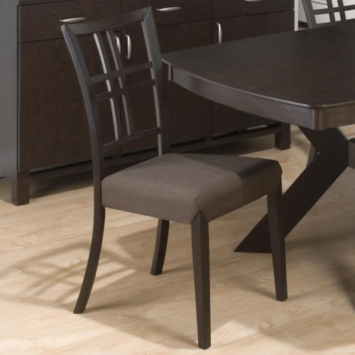 Jofran Ryder Ash Grid Back Dining Side Chair with Linen Seat
