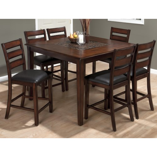 Jofran Baroque Brown Pub Table and Slat Back Chair Set - Jofran